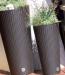 Plastový ratanový kvetináč hnedý 27L ( š. 30 cm, v. 57,2 cm ) guľatý